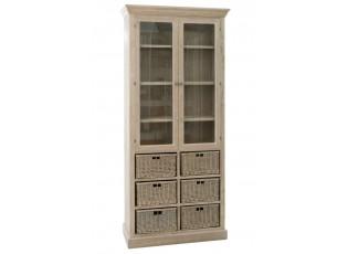 Dřevěná skříň/vitrína s prosklenými dvířky a proutěnými košíky Jerome - 87*38*204 cm