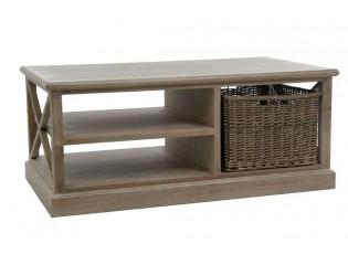 Dřevěný konferenční stolek s košíkem Jerome - 120*69*51 cm