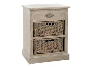 Dřevěná skříňka/noční stolek s košíky Jerome - 49*35*64cm