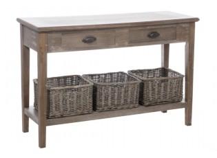 Konzolový stolek s proutěnými košíky Jerome - 120*40*79 cm