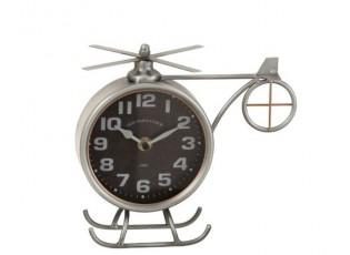 Stříbrné kovové hodiny ve tvaru vrtulníku Helicopter  - 21*15*20 cm