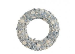 Modrý věnec z mušliček a korálků Couronne S - Ø 24*4cm