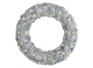 Modrý věnec z mušliček a korálků Couronne L - Ø 50*7cm