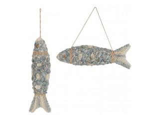 2ks modré ryby z mušliček a korálků Poisson - 56*12*7cm