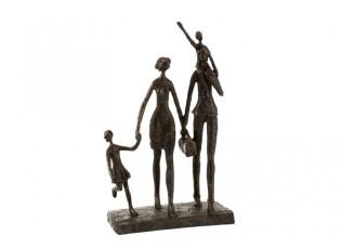 Hnědá soška Family Time - 11*22*38 cm