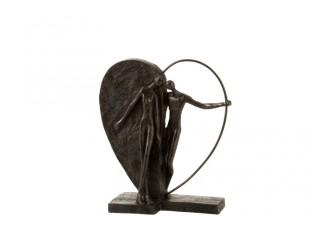 Hnědá dekorativní soška Couple in hearth - 10*29*31 cm