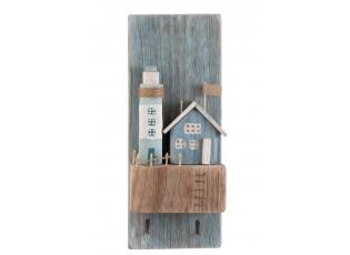 Nástěnný dřevěný věšák s dekorací majáku - 19,8*9*50 cm