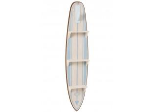 Modrá dřevěná polička ve tvaru Surfu - 28*12*132 cm