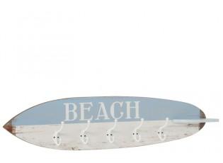 Dřevěný věšák v designu surfového prkna Beach - 87*9*20,5 cm