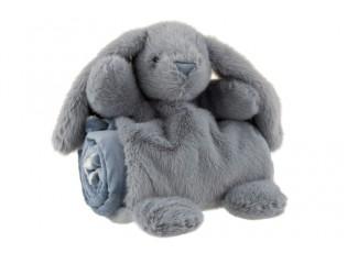 Šedý plyšový králíček s plyšovou dečkou - 30*20*19 cm