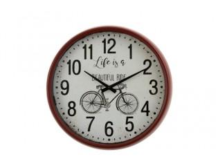 Retro nástěnné hodiny v červeném kovovém rámu Bicycle - Ø 40*10 cm