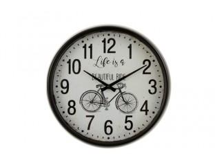 Retro nástěnné hodiny v černém kovovém rámu Bicycle - Ø 40*10 cm