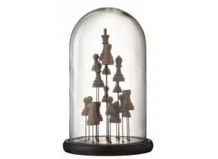 Dekorační podnos se skleněným poklopem Šachy - 23*23*37,5 cm