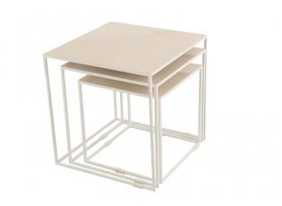 Set 3 kovových odkládacích stolků v béžovém provedení Euphemie - Ø 45*46,2 cm