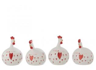 2 ks valentýnské keramické slepičky - 16*15,5*24 cm