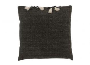 Tmavě šedý polštář se střapci Charline - 45*45 cm