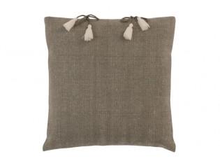 Béžovo-hnědý polštář se střapci Charline – 45*45 cm
