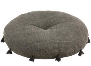 Bavlněný šedý otoman s třásněmi Iseult - Ø 80*14 cm