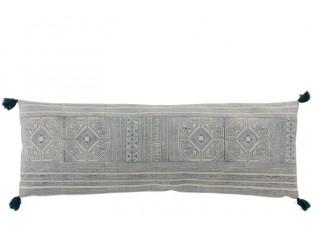 Modrý obdélníkový polštář se střapci Aztec - 100*35 cm