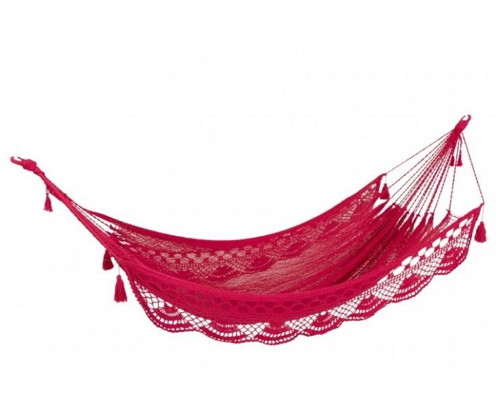 Růžová háčkovaná houpací síť Lottie - 240*340 cm