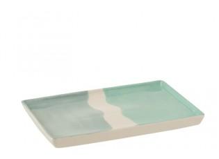 Obdélníkový porcelánový talíř Wave - 26,5*18,5*2 cm