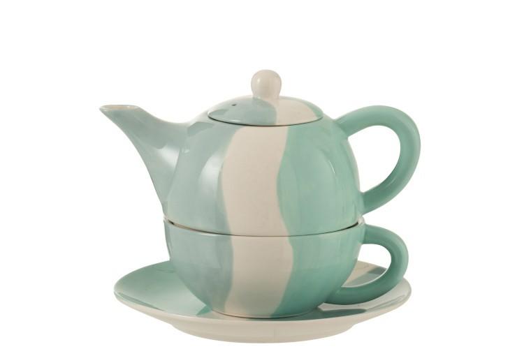 J-Line by Jolipa Porcelánová čajová konvička se šálkem Wave - 19,5*18,2*16,5 cm