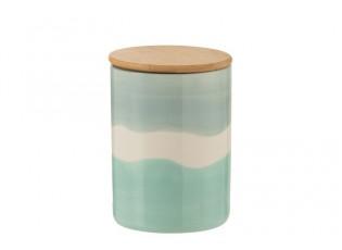 Porcelánová dóza s dřevěným víkem Wave - Ø 11,2*16 cm