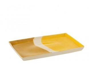 Porcelánový obdélníkový talíř Wave v odstínech žluté - 26*17,5*2 cm