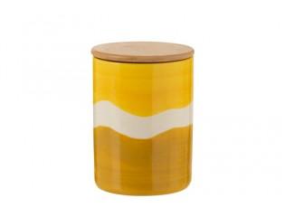 Porcelánová skladovací dóza s dřevěným víkem Wave v odstínech žluté - Ø 11,3*15,5 cm