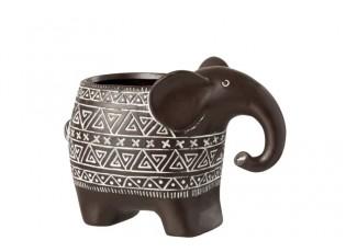 Hnědý terracottový květináč slon - 21*12,5*15 cm