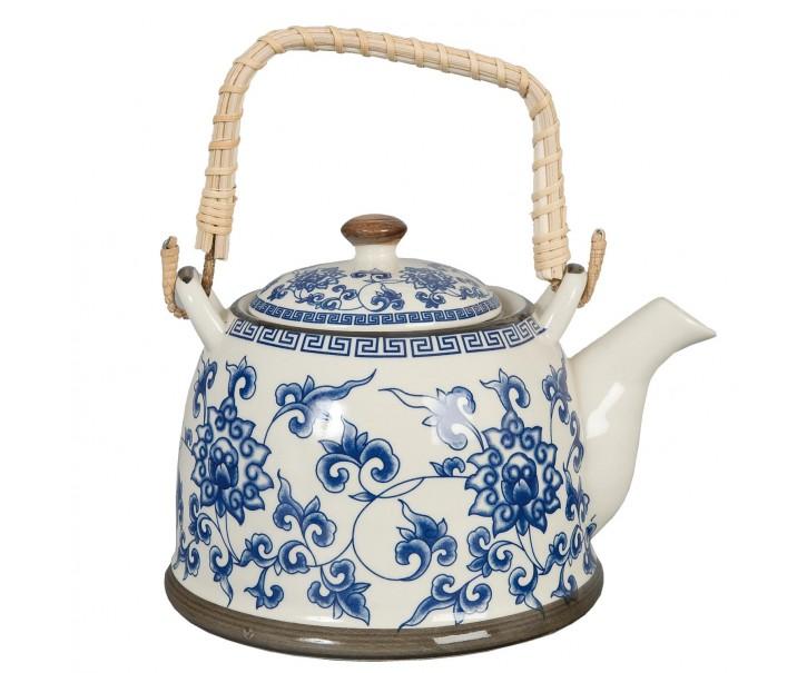 Konvička se sítkem modré květy - Ø 14*14 cm / 0,7L
