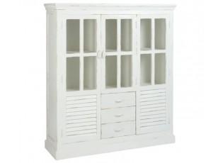 Bílá dřevěná policová skříň s patinou Manzi - 145*45*160 cm
