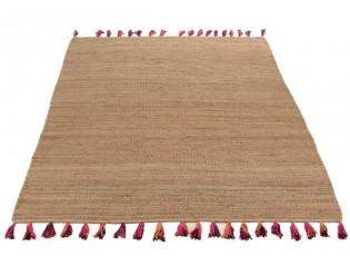 Přírodní jutový koberec Melissa s barevnými střapci - 200*300cm