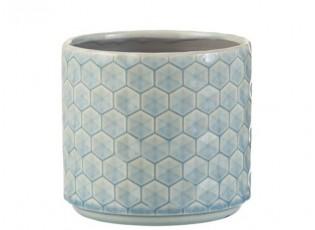 Modrý keramický obal na květináč Rhombus M - Ø 14*12,5 cm
