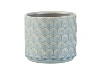 Modrý keramický obal na květináč Rhombus S - Ø 12*10,5 cm