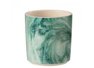 Tyrkysový mramorový obal na květináč Azure M - Ø 12*13 cm