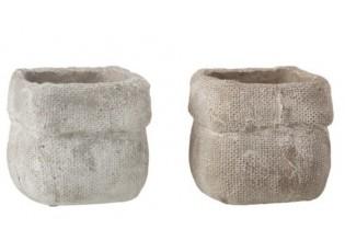 Sada 2 betonových květináčů Ciment – Ø 13,5*12,5 cm