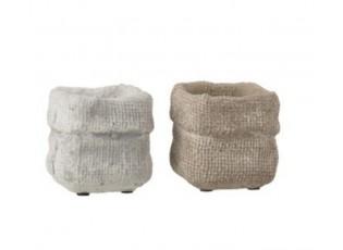 Sada 2 betonových květináčů Ciment – Ø 8*7,5 cm