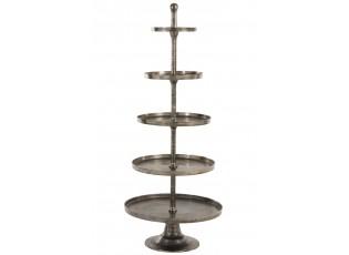 Stříbrný 5-patrový kovový etažér Antique grey - Ø 67*167cm