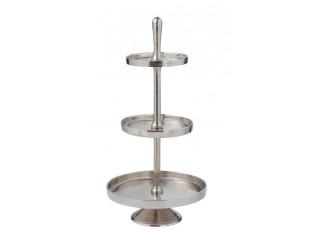 Stříbrný 3-patrový kovový etažér Legio - Ø 35*70cm