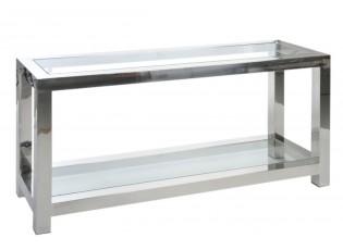 Stříbrný kovový konzolový stolek se skleněnou deskou Luxx - 140*40*70cm