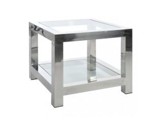 Stříbrný kovový okládací stolek se skleněnou deskou Luxx - 60*60*50cm