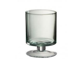 Zelená skleněná váza/svícen na noze Hurricane - Ø11*15 cm