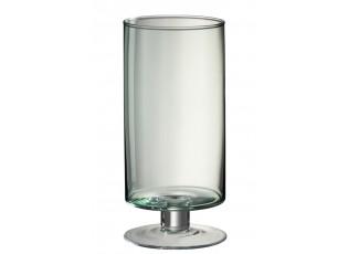 Zelená skleněná váza/svícen na noze Hurricane - Ø15*33 cm