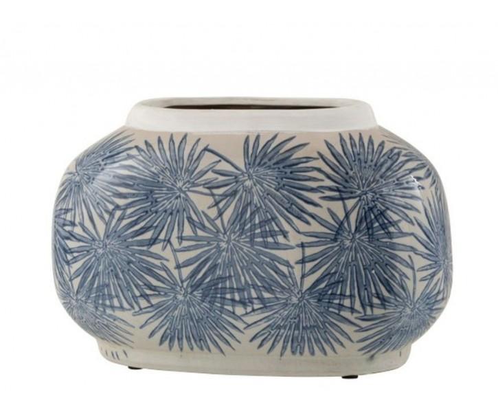 Keramická váza s modrými květy Blaw - 29*16*18,5 cm