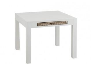 Bílý dřevěný jídelní stůl s košíky Baskety - 100*100*80 cm