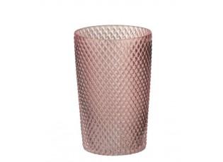 Růžová skleněná váza Cylinder - Ø 13*20 cm