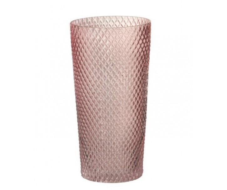 Růžová skleněná váza Cylinder - Ø 14*28 cm