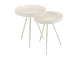 Set 2 bílých odkládacích stolků Lacquer - Ø 46,5*59 cm