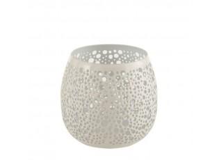 Bílý kovový svícen Perfor - Ø11*12 cm